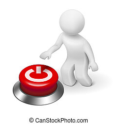 "3d human character, person and a button with ""Power"" isolated on white background"
