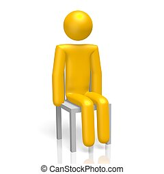 3D human character sitting on chair