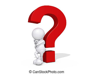 3d Human Character Thinking Question Mark