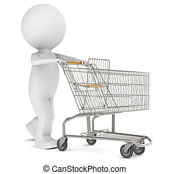 3d human character with an empty Shopping Trolley. Isolated