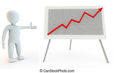 3D Human character with graph chart, 3d render