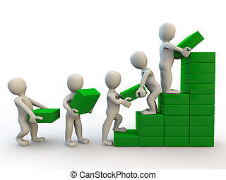 3d human characters making graph of growth, isolated on...