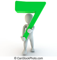 3D Human charcter holding green number seven