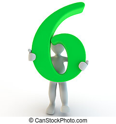 3D Human charcter holding green number six