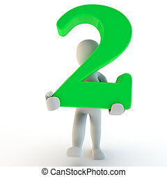 3D Human charcter holding green number two