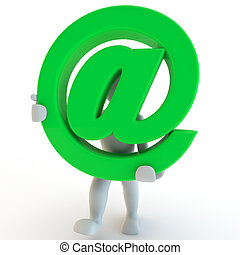 3D Human charcter holding green sign at
