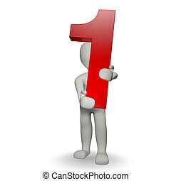 3D Human charcter holding number one, 3d render, isolated on white