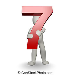 3D Human charcter holding number seven, 3d render, isolated on white