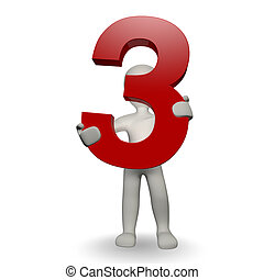 3D Human charcter holding number three, 3d render, isolated on white