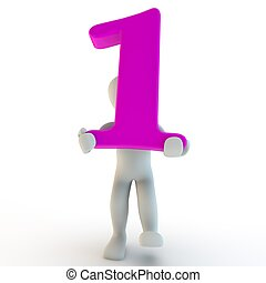 3D Human charcter holding pink number 1