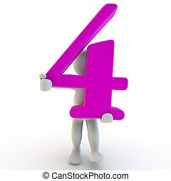 3D Human charcter holding pink number 4