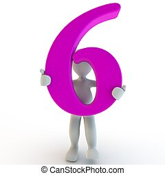 3D Human charcter holding pink number 6