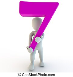 3D Human charcter holding pink number 7