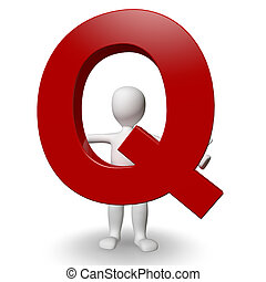 3D Human charcter holding red letter Q, 3d render, isolated...