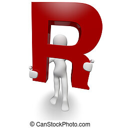 3D Human charcter holding red letter R, 3d render, isolated...