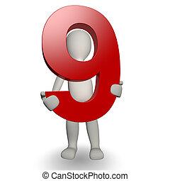 3d, human, charcter, segurando, numere nove