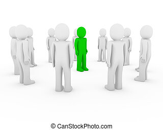3d human circle green white