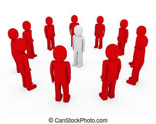 3d human circle red white