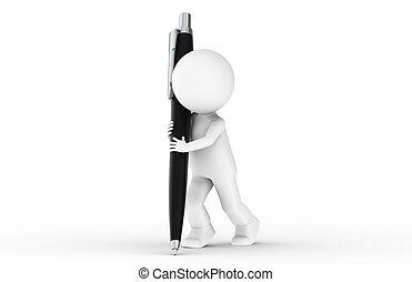3d, human, com, caneta
