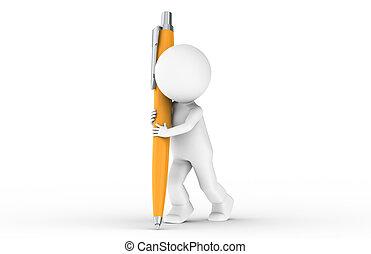 3d, human, com, um, laranja, caneta