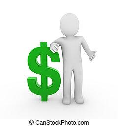 3d human dollar symbol green