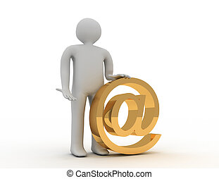 3d human email symbol. 3d rendered illustration