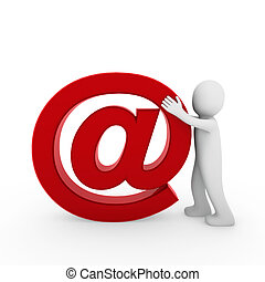 3d human email symbol red business isolated