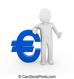 3d human euro symbol blue business money white