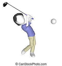 3d, human, golfe jogando