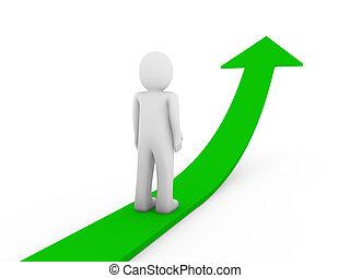 3d human green arrow growth