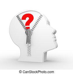 3d human head and a open zipper. Question mark