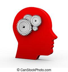 3d human head and gears