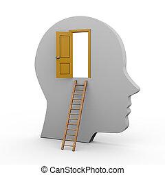 3d human head and open door