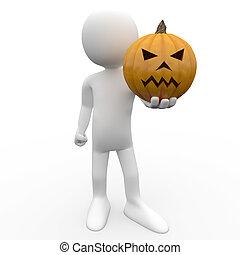 3D human holding a pumpkin