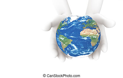 3d human holding the Earth
