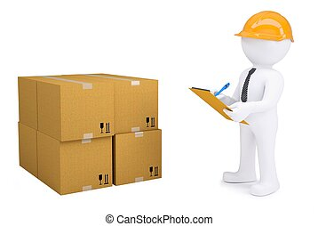 3d human in a helmet with notepad next to cardboard boxes