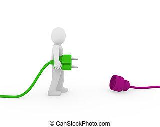 3d human man plug green purple