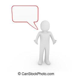 3d human man speak talk communication banner red