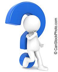 3d, human, personagem, com, um, azul, marca pergunta