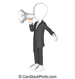 3d, human, personagem, com, um, branca, megafone