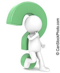 3d, human, personagem, com, um, verde, marca pergunta
