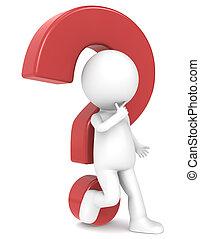 3d, human, personagem, com, um, vermelho, marca pergunta