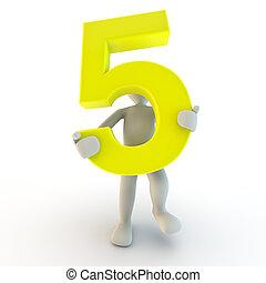 3d, human, personagem, segurando, amarela, numere cinco, pequeno, pessoas