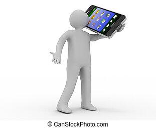 3d, human, personagem, segurando, um, esperto, telefone