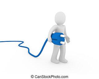 3d human plug blue