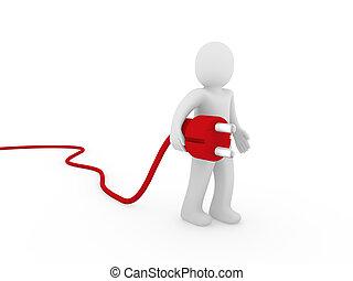 3d human plug red
