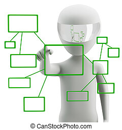 3d human pushing a button on a touch screen interface. 3d image. On a white background.