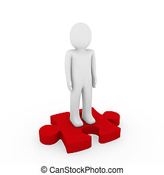 3d human puzzle red business white success teamwork
