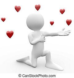 3d, human, queda amor