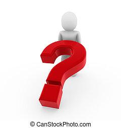 3d human question mark